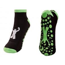 "Black / Neon Green Trampoline Jump Socks  Size XS - 5"""